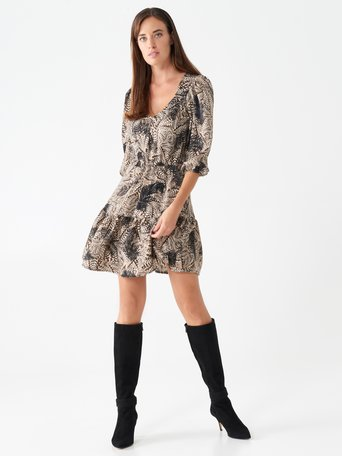 Short dress with feather print var black - CFC0100643003B473