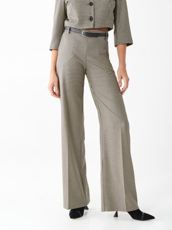 Houndstooth palazzo trousers var black - CFC0100653003B473