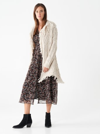 Fringed wool cardigan Beige - CFM0009976003B101