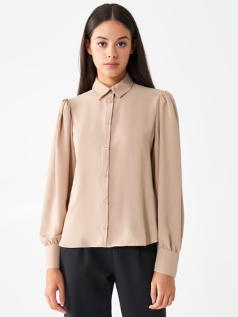 Shirt with long puff sleeves Beige - CFC0100845003B101