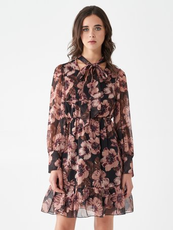 Short floral dress var black - CFC0100805003B473