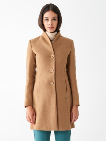 Fitted wool coat Camel Beige - CFC0100719003B117