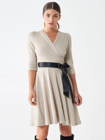 Short crossover dress with lurex Beige - CFC0100604003B101
