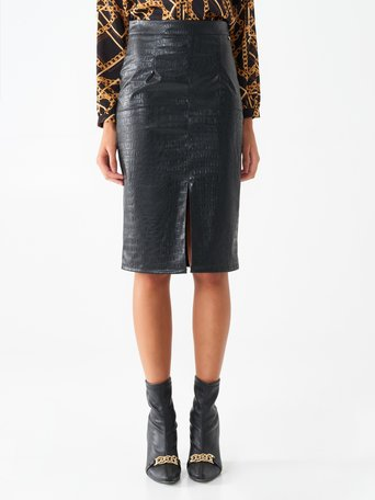 Longuette skirt in faux leather Black - CFC0098602003B001