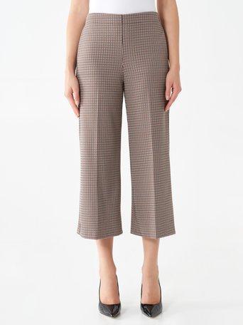 Pantaloni Cropped in Principe di Galles var. Cuoio - CFC0101361003B470