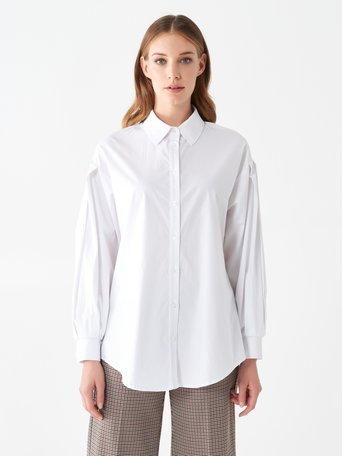 Camicia con Maniche a Palloncino Bianco - CFC0101053003B021