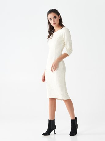 Monogram sheath dress in jacquard White Cream - CFC0101466003B036