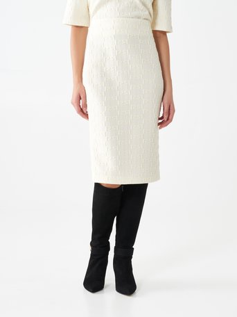 Monogram pencil skirt in jacquard White Cream - CFC0101055003B036