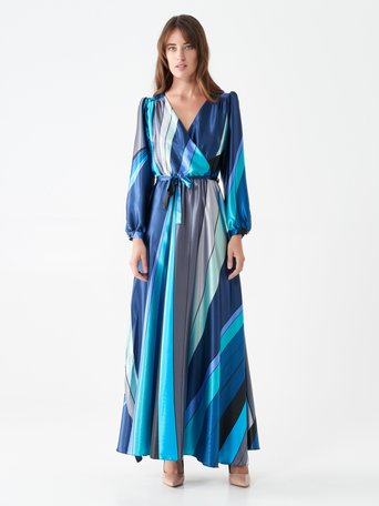 Long multi-tone dress var blue ottanio - CFC0101097003B444