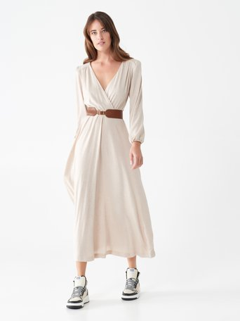 Robe longue encolure en V Beige - CFC0101688003B101