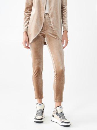 Pantalon stretch en maille chenille Chameau Beige - CFC0101611003B117