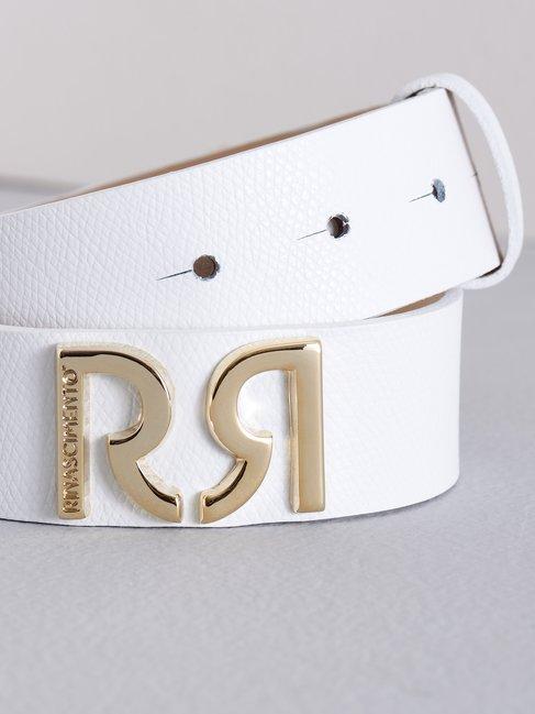 Leather Belt with Monogram White - ACV0012466003B021