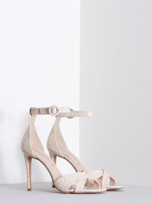 Croco Print High Sandals Beige - CAL0006040003B101