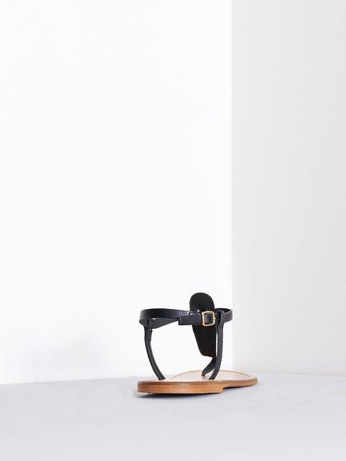 Leather Flip Flop Sandals Black - CAL0006140003B001