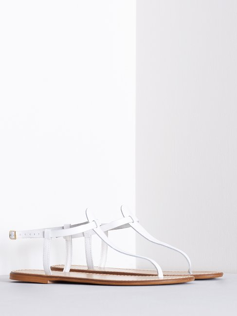 Leather Flip Flop Sandals White - CAL0006140003B021