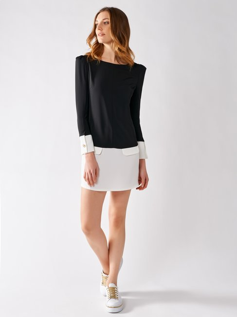 Short Bicolor Dress Black var White - CFC0017174002B002