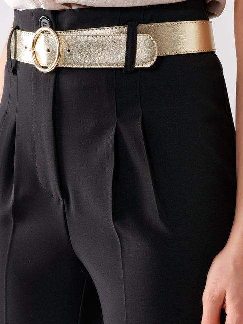 Pantaloni a Vita Alta a Sigaretta Nero - CFC0017183002B001