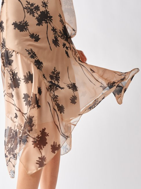 Floral Printed Georgette Dress var beige - CFC0017185002B430