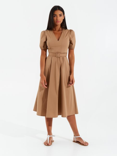 Midi Cotton Dress with Balloon Sleeves Biscuit Beige - CFC0017346002B118