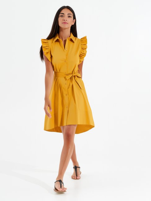 Short Asymmetrical Dress Ocra yellow - CFC0017351002B176