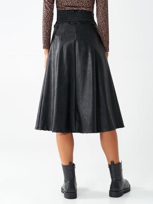 Faux leather midi skirt Black - CFC0017409002B001