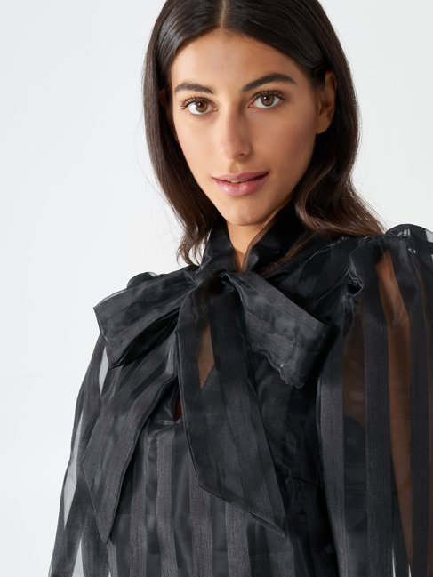 Organza blouse with bow Black - CFC0017444002B001
