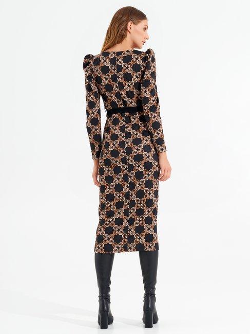 Printed bodycon midi dress var black - CFC0017456002B473