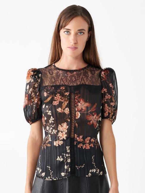 Lace floral blouse var black - CFC0017477002B473