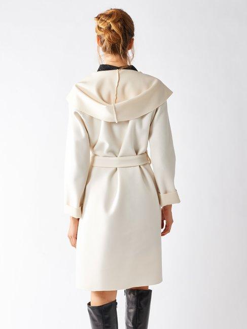 Hooded Cloth Coat White Cream - CFC0095621003B036