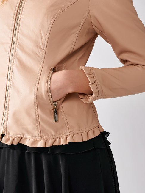 Biker in Similpelle con Rouches Rosa - CFC0096716003B221