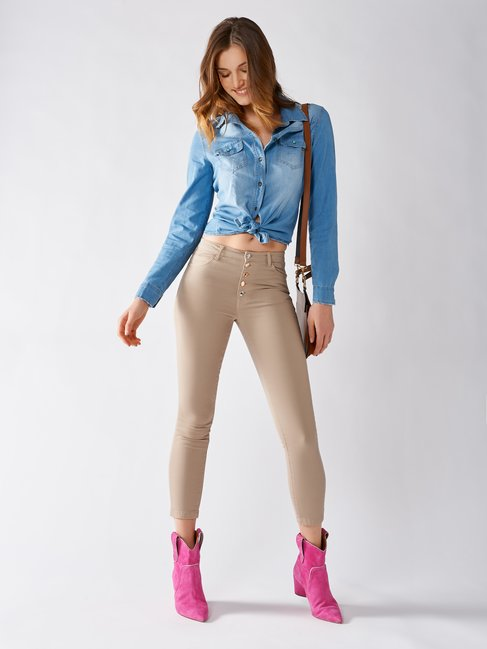 Pantaloni Skinny In Cotone Beige - CFC0096980003B101