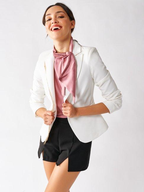 Contoured Jacket with Embellishment White Cream - CFC0096988003B036