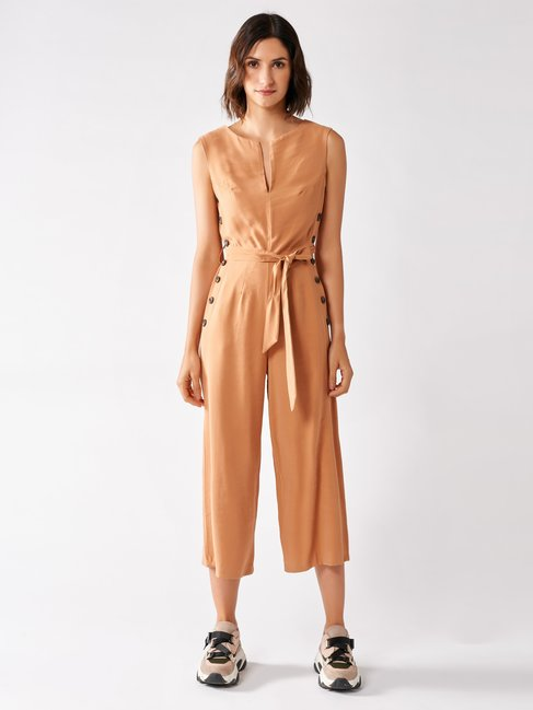 Cropped Viscose Jumpsuit orange peach - CFC0097006003B391