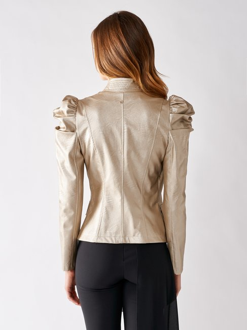 Faux Leather Jacket with Puff Sleeves Gold - CFC0097017003B266