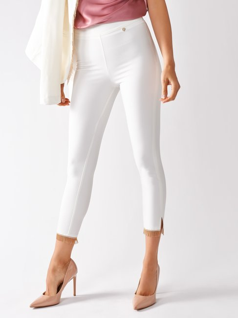 Skinny Pants with Applications White Cream - CFC0097032003B036