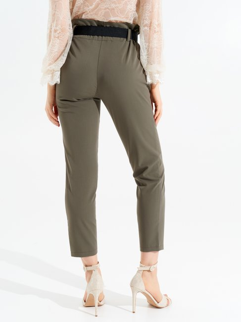 High-rise Trousers with Bow Militar green - CFC0097089003B159