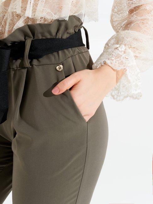 Pantalones de Talle Alto con Lazo Verde Militar - CFC0097089003B159