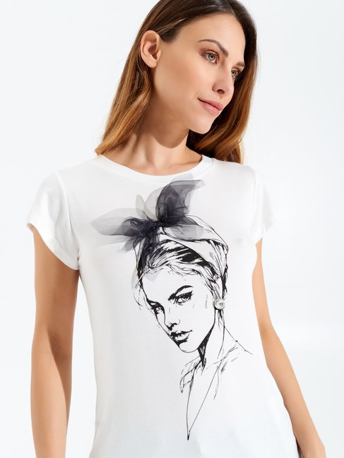 Bow T-Shirt White Cream - CFC0097108003B036