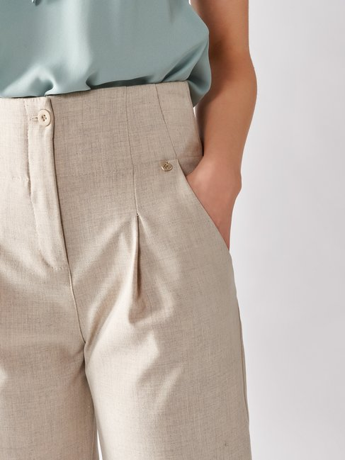 High-waisted Viscose Trousers Beige - CFC0097117003B101