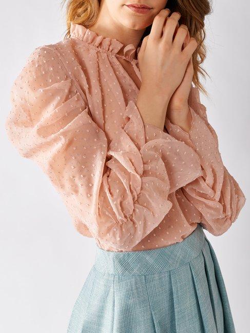 Long-sleeved Plumetis Blouse Pink - CFC0097206003B221