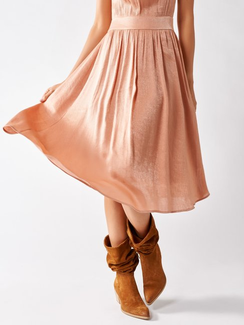 Robe en Satin Romantique Rose - CFC0097219003B221
