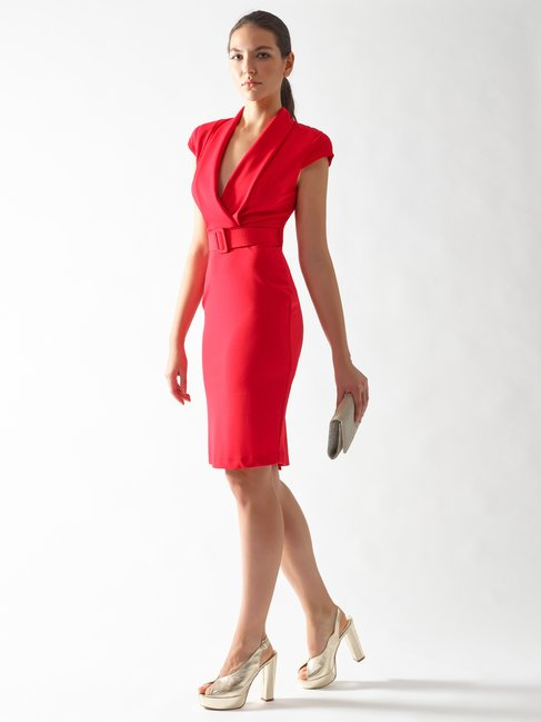 Crossover Sheath Dress Red - CFC0097252003B081