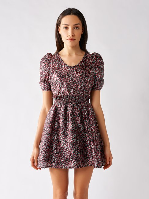 Short Patterned Dress with Puff Sleeves var black - CFC0097268003B473