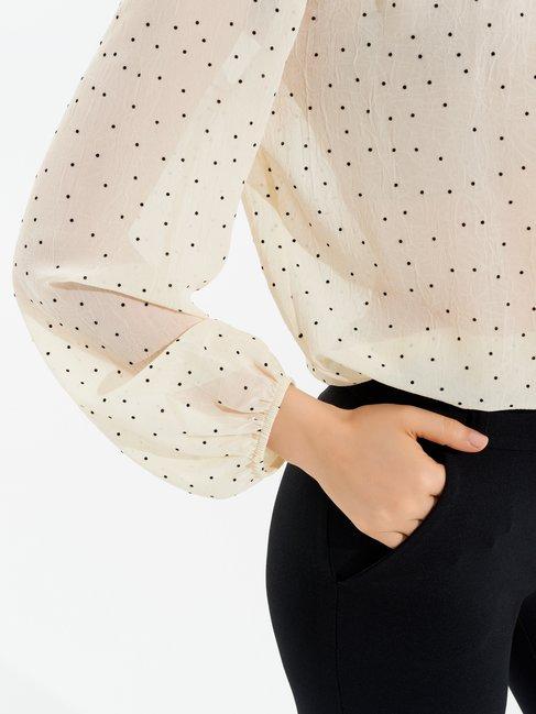 Long Sleeved Polka Dot Blouse var ivory - CFC0097321003B435