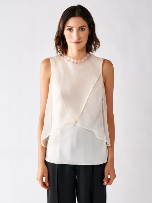 Top in Georgette con Voile Avorio bianco - CFC0097322003B038