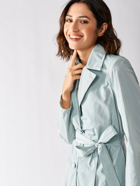 Trench coat with Rouches green mint - CFC0097331003B411