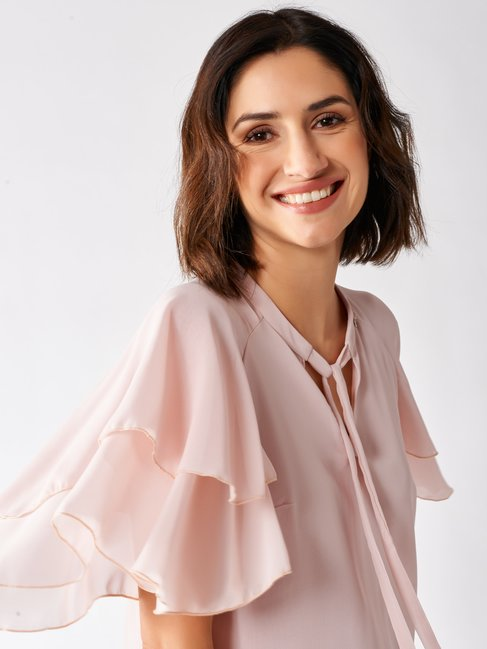 Blouse with Flounced Sleeves Pink - CFC0097359003B221