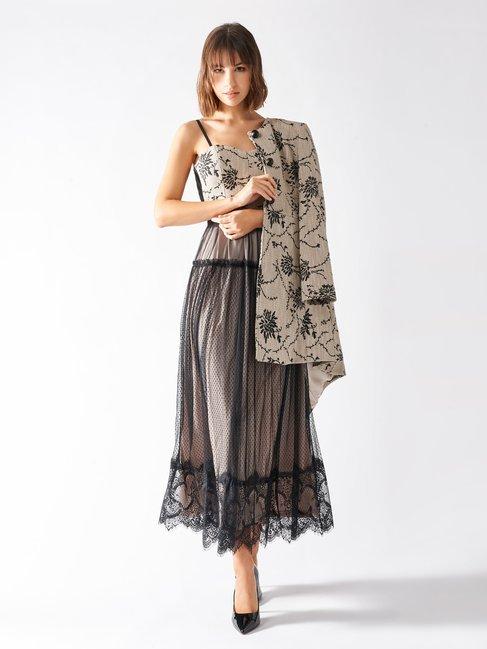 Midi Empire-style Dress var beige - CFC0097363003B430