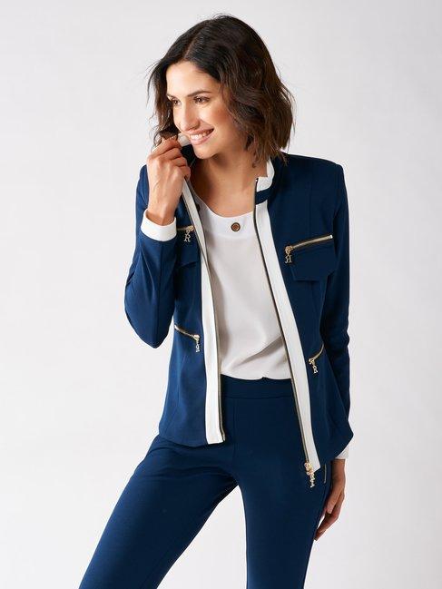Bicolor Crepe Jacke mit Reißverschluss var. Blu - CFC0097480003B440