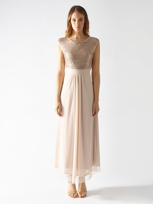 Long Empire-style Dress var beige - CFC0097487003B430